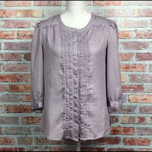 BANANA REPUBLIC Pleated Lilac Button Down Blouse